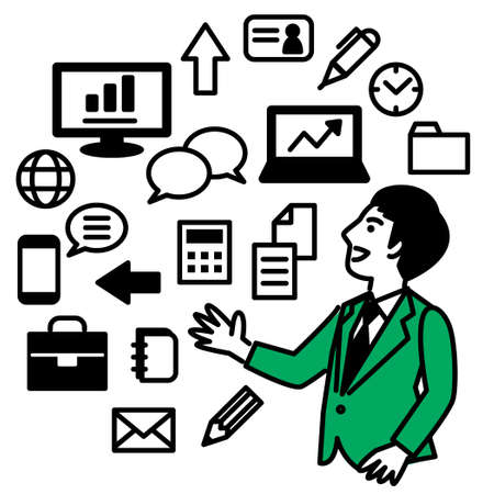 Business tools with businessman. Vector illustration.