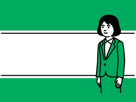 Line frame with businesswoman. Vector illustration.