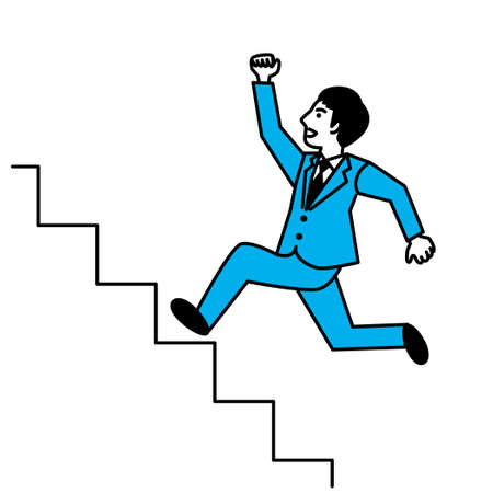 Side view of man running up stairs. Vector illustration.