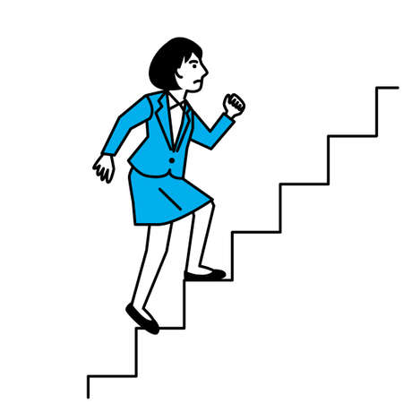 Side view of woman climbing stairs. Vector illustration.