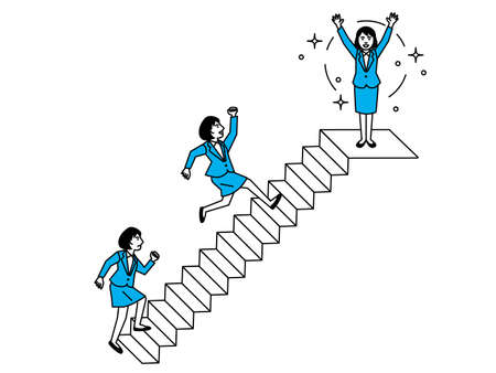 Diagram of woman climbing the stairs. Vector illustration.
