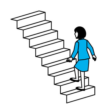 diagonal view of woman climbing stairs. Vector illustration.