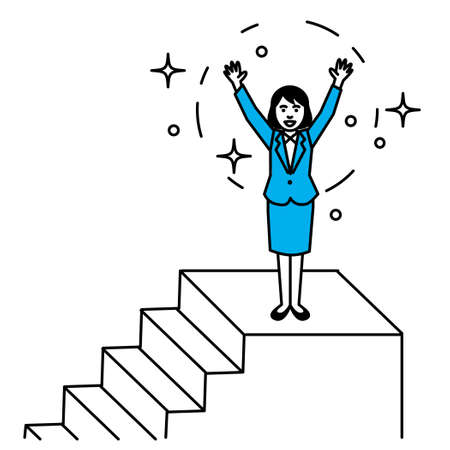 Woman rejoicing on the stairs. Vector illustration.