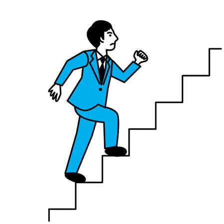 Side view of man climbing stairs. Vector illustration.