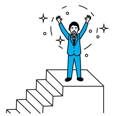 Man rejoicing on the stairs. Vector illustration. Иллюстрация