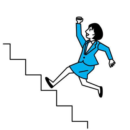 Side view of woman running up stairs. Vector illustration. Иллюстрация
