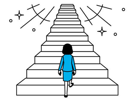 Back view of a woman starting to climb the stairs. Vector illustration. Иллюстрация