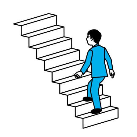 diagonal view of man climbing stairs. Vector illustration.