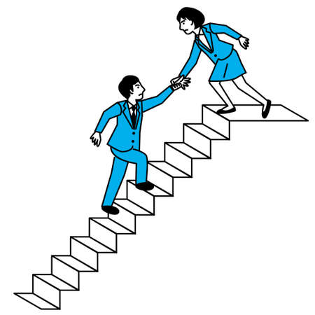Woman helping man climb stairs. Vector illustration. Иллюстрация