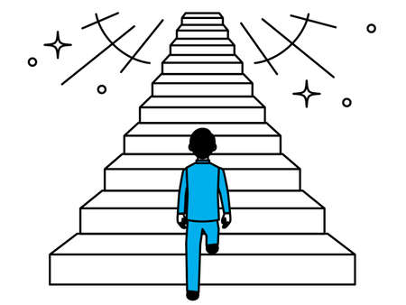 Back view of a man starting to climb the stairs. Vector illustration.