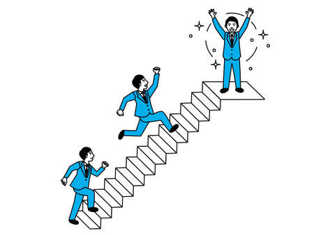 Diagram of man climbing the stairs. Vector illustration.