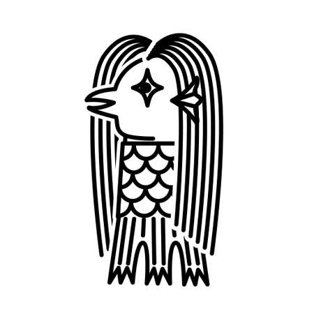 Amabie. Japanese spirit believed to help ward off plagues. Vector illustration.