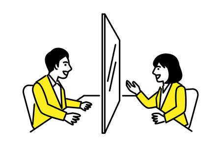 Men and women talking through partition Infection control social distance. Vector illustration.