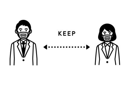 Social distancing, Man and woman keep a distance. Vector illustration. Иллюстрация