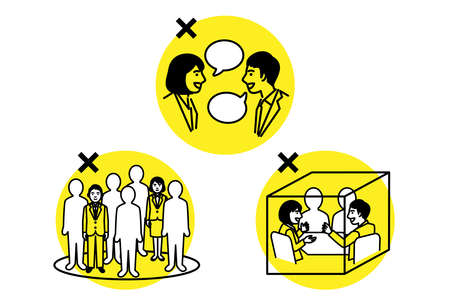 Avoid the Three Cs. Crowded place, Close-contact setting, Confined and enclosed space. Vector illustration. Иллюстрация