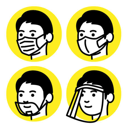 Men with medical mask, mouth shield and face shield. Vector illustration.