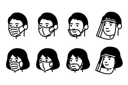 Men and women with medical mask, mouth shield and face shield. Vector illustration.