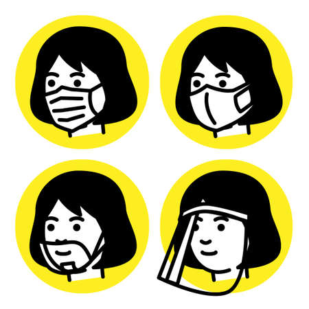 Woman with medical mask, mouth shield and face shield. Vector illustration.