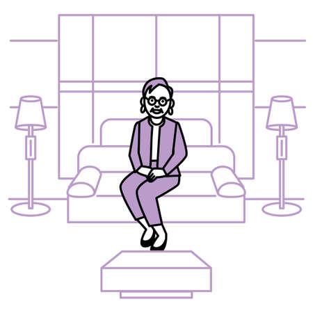 Business scene. Woman in president's office. Vector illustration. Иллюстрация