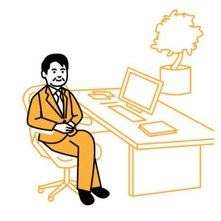Business scene. Man working at desk. Vector illustration. Иллюстрация