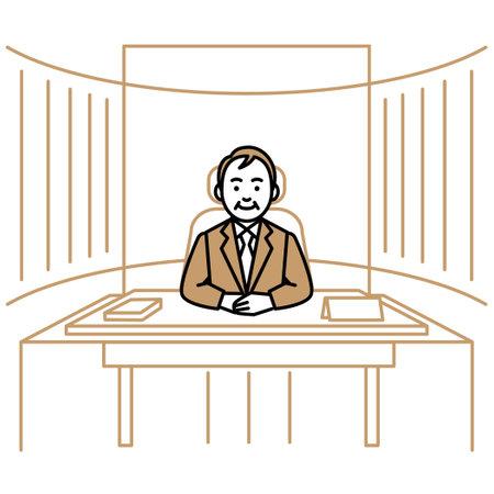 Business scene. Men in president's office. Vector illustration.