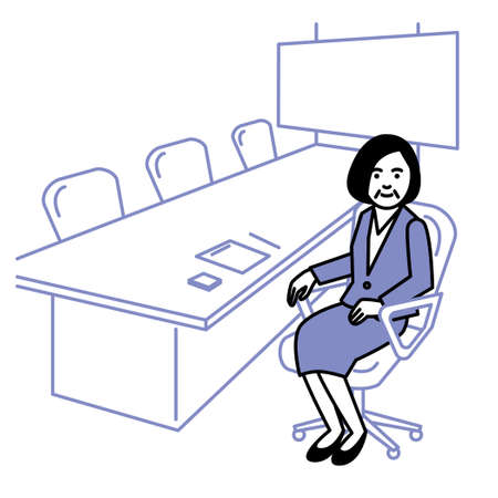 Business scene. Woman in conference room. Vector illustration.