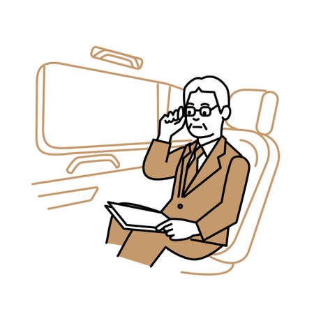 Business scene: Executive man looking at papers in car. Vector illustration. Иллюстрация