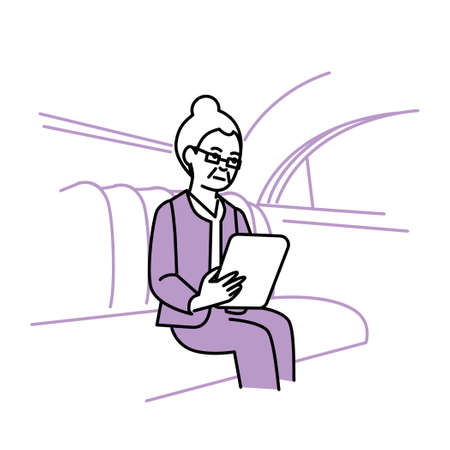 Business scene: Executive woman looking at tablet in car. Vector illustration.