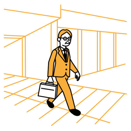 Business scene: Man walking town. Vector illustration.