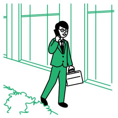 Business scene: Man calling phone in town. Vector illustration. Иллюстрация