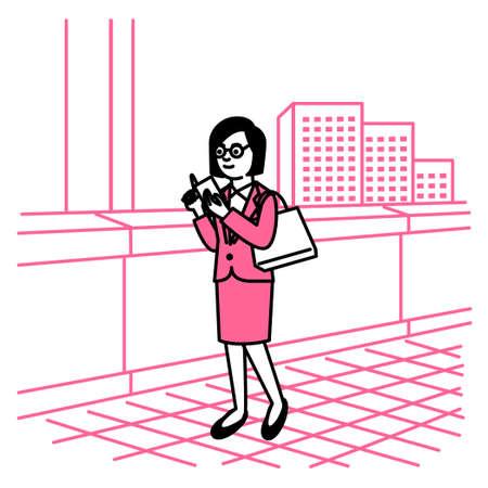 Business scene: Woman using smartphone in town. Vector illustration. Иллюстрация