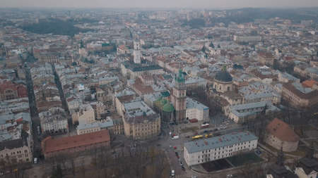 Aerial Roofs and streets Old City Lviv, Ukraine. Central part of old city. European City. Densely populated areas of the city. Panorama of the ancient town. Church Dominican 写真素材