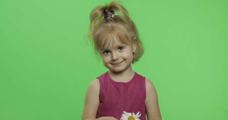 Positive girl in purple dress holds chamomile flower. Pretty little blonde child. Make faces and smile. Place for your logo or text. Green screen. Chroma Key