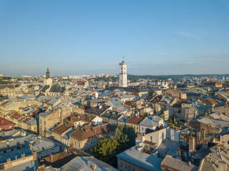 Aerial Roofs and streets Old City Lviv, Ukraine. Central part of old city. European City in spring. Densely populated areas of the city. Panorama of the ancient town. Town Hall, Ratush. Drone shot Reklamní fotografie