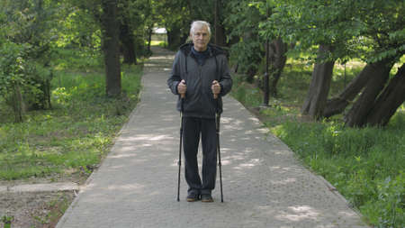 Active senior elderly 80 years old caucasian man training Nordic walking with ski trekking poles in park. Natural green tree background. Active leisure. Hiking man. Old people healthy lifestyle