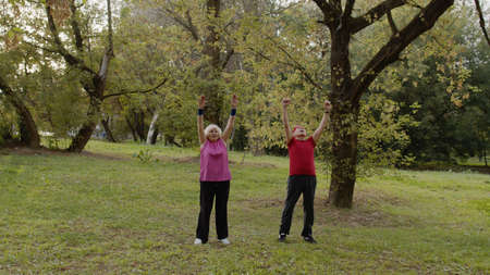 Senior active couple doing sport physical exercises outdoor. Grandmother and grandfather doing morning stretching workout in city park. Concept of health and fitness during retirement Фото со стока