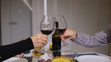 Close up of clinking red wine glasses during romantic dinner. Happy cheerful senior elderly couple dining together in the cozy kitchen, enjoying the meal, celebrating their anniversary