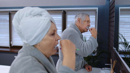 Cheerful old senior couple grandparents man and woman brushing teeth and looking into a mirror. Elderly grandmother and grandfather doing morning hygiene at luxury bathroom at home