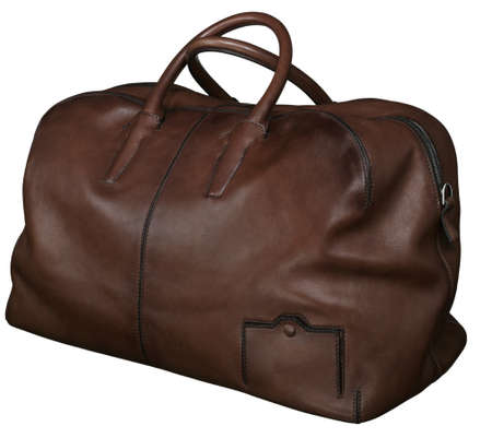 Brown soft genue leather travel bag luxury carpetbag gripsack valise isolated. travel bag isolated
