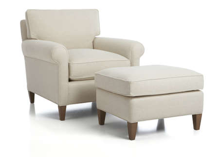 White armchair and Ottoman Sets Living Room, Lounge Chair with Ottoman, isolated. Modern luxury furniture.