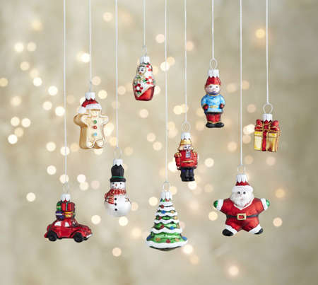 Christmas tree toys winter holidays ornaments cute Festive decoration. Festive tree balls decoration, Unusual decorative glass balls