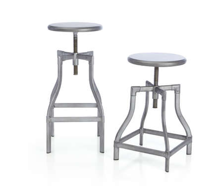 Cool steel Barstools. Turner Bar Stools. Turner Adjustable Backless Bar Stools and Linen Cushion. chrome bar stool isolated on white Zdjęcie Seryjne