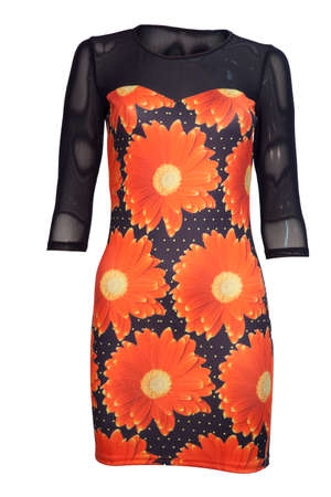 Elegant dress for women with red flowers print on top, isolated. Elegance, apparel women dress isolated on white. New collection fashion women.