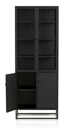 Modern empty Steel-Framed Display Cabinet with opened door, Casement Cabinet, isolated. 写真素材