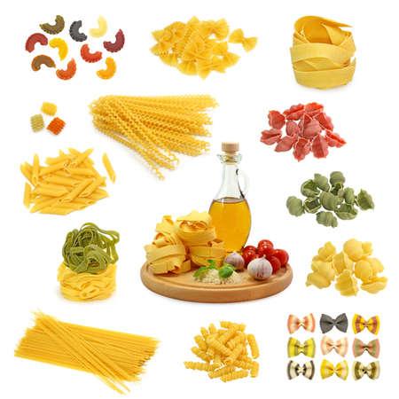 pasta mix isolated on white background photo