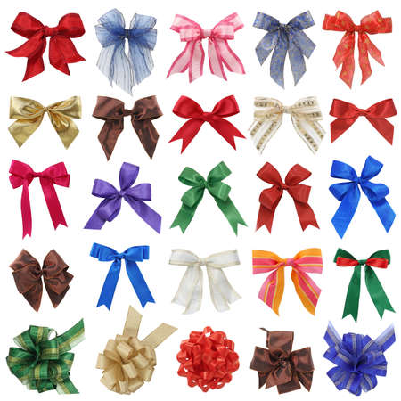 Bows collection isolated on white background photo