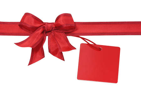 red bow: Red bow with label isolated on white background