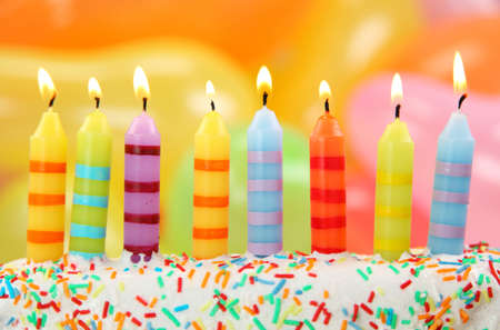 8 years birthday: Birthday candles on colorful background Stock Photo