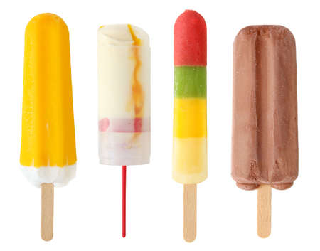 lolly: Four colorful ice cream isolated on white background