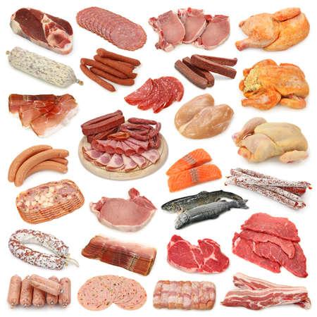 saucisse: Collection de viande isol�e sur fond blanc